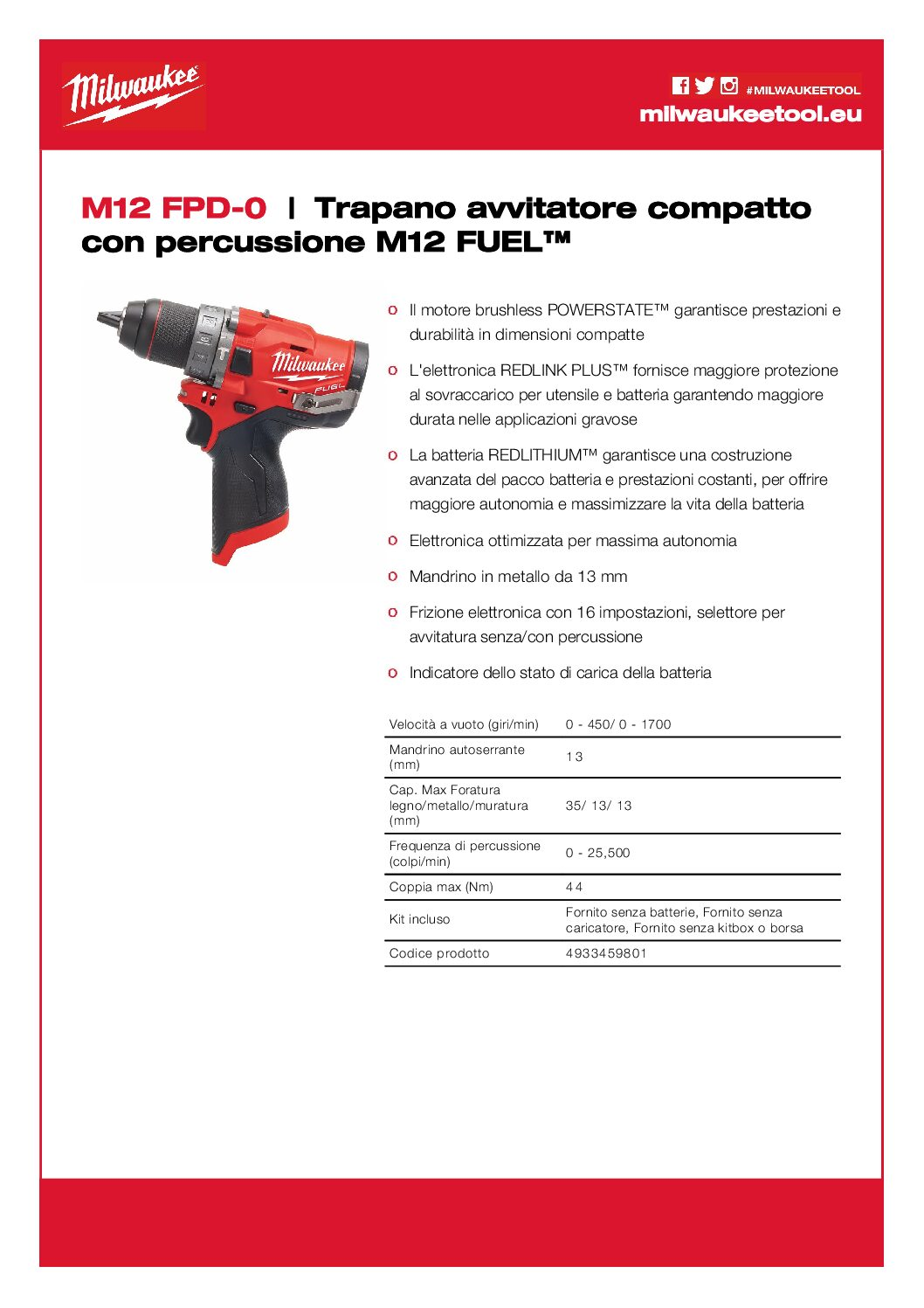 Kit 12V Tassellatore SDS + Trapano Avvitatore M12 FPD 0 pdf